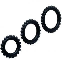 BAILE  TITAN SET 3PCS COCK RING BLACK 2.8 + 2.4 + 1.9 CM - Imagen 1