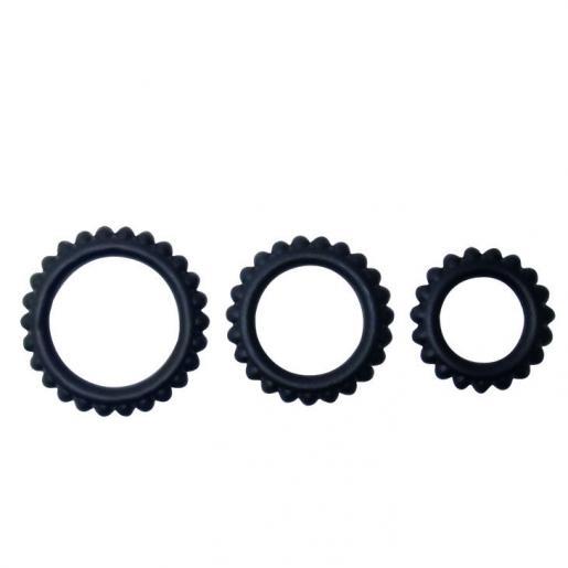 BAILE  TITAN SET 3PCS COCK RING BLACK 2.8 + 2.4 + 1.9 CM - Imagen 2