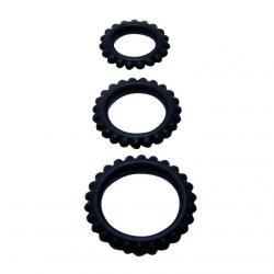 BAILE  TITAN SET 3PCS COCK RING BLACK 2.8 + 2.4 + 1.9 CM - Imagen 3