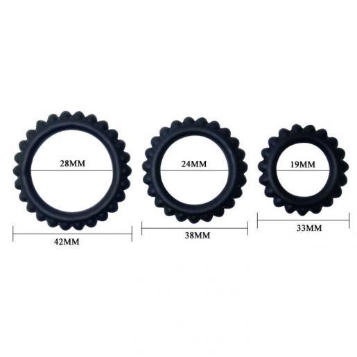 BAILE  TITAN SET 3PCS COCK RING BLACK 2.8 + 2.4 + 1.9 CM - Imagen 4