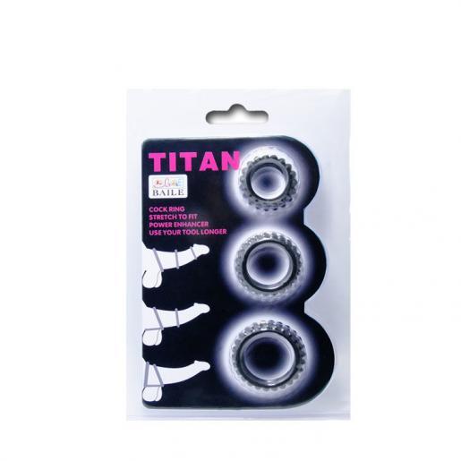 BAILE  TITAN SET 3PCS COCK RING BLACK 2.8 + 2.4 + 1.9 CM - Imagen 5