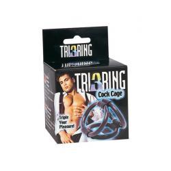 TRI RING COCK ANILLOS PENE Y TESTICULOS NEGRO - Imagen 2
