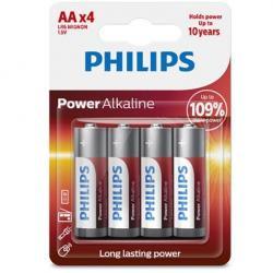 PHILIPS POWER ALKALINE PILA AA LR6 BLISTER*4 - Imagen 1