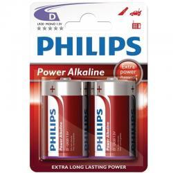 PHILIPS POWER ALKALINE PILA D LR20 BLISTER*2 - Imagen 1
