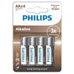 PHILIPS ALKALINE PILA AA LR6 BLISTER*4 - Imagen 1