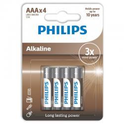 PHILIPS ALKALINE PILA AAA LR03 BLISTER*4 - Imagen 1